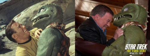 "William Shatner and his Gorn co-star in the classic Star Trek episode ""Arena"" (1967) and now (2013)."