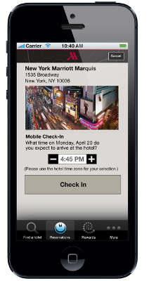 Mobile Check-in for Travelers at Marriott Hotels