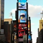 Benja Harney's colorful Galaxy Note 3 pop-up book advertisement captures the attention of Times Square.