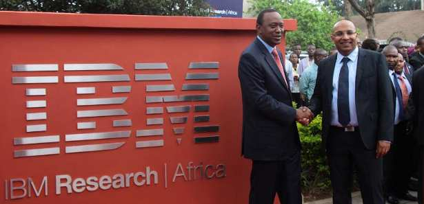 President of Kenya, Uhuru Kenyatta (left) and Dr. Kamal Bhattacharya, Director IBM Research - Africa (right) at the opening of IBM's First Africa Research Laboratory.