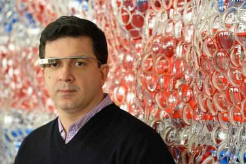 Artist David Datuna with Portrait of America and Google Glass at his Brooklyn, NY studio.