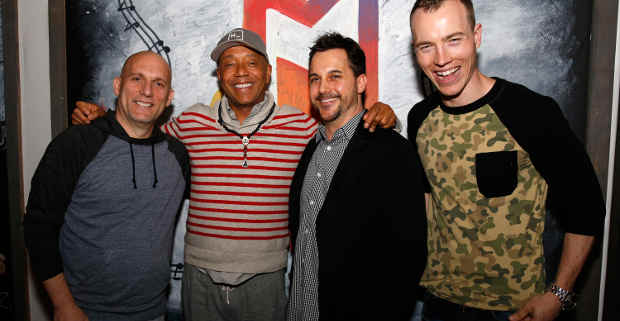 Steve Rifkind, Russell Simmons, Todd Pendleton, and DJ Skee at the launch of ADD52 at SXSW.