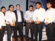 Joseph Landes, General Manager - Developer and Platform Evangelism (DPE), Microsoft India with one of the winning teams of Microsoft Imagine Cup 2014
