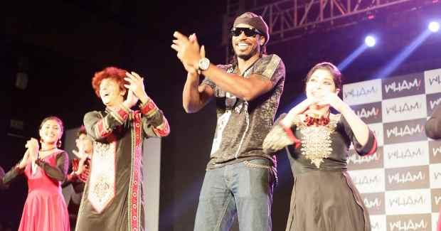 Chris Gayle with Abhinava Dance Company at the announcement of him as the brand ambassador for WHAM!