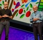 Adobe president and CEO Shantanu Narayen (right) and Microsoft CEO Satya Nadella at Adobe MAX