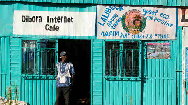 Internet café in Lalibela, Amhara Region, Ethiopia.