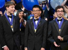 WASHINGTON, D.C., March 10, 2015 - Intel Science Talent Search first place winners (left to right) Noah Golowich (Mass.), Andrew Jin (Calif.) and Michael Winer (Md.) each took home $150,000. Photo credit: Chris Ayers/Intel