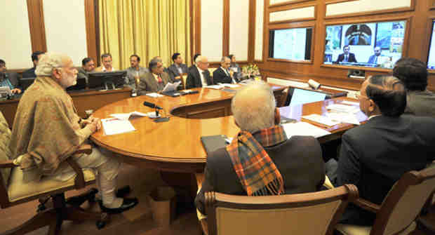 Narendra Modi chairing eighth interaction through PRAGATI - the ICT-based, multi-modal platform for Pro-Active Governance and Timely Implementation, in New Delhi on December 30, 2015.