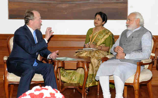 John Chambers calls on Narendra Modi, in New Delhi on March 18, 2016