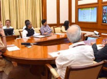 Narendra Modi chairing eleventh interaction through PRAGATI - the ICT-based, multi-modal platform for Pro-Active Governance and Timely Implementation, in New Delhi on March 23, 2016