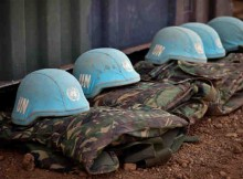 Blue helmets and uniforms of UN Peacekeepers. UN Photo / Marco Dormino