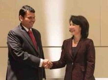 Oracle CEO Safra Catz and Chief Minister of Maharashtra Devendra Fadnavis