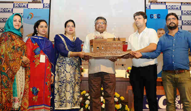 The Union Minister for Electronics & Information Technology and Law & Justice, Shri Ravi Shankar Prasad at the Jammu & Kashmir Village Level Entrepreneurs conference (VLEs), in New Delhi on October 24, 2016