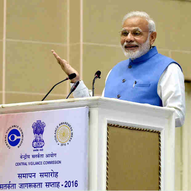The Prime Minister, Shri Narendra Modi delivering his address at the Valedictory Function of Vigilance Awareness Week-2016, in New Delhi on November 07, 2016