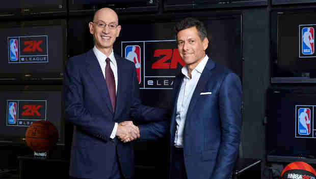 Take-Two CEO Strauss Zelnick, right, joins NBA Commissioner Adam Silver, left, at the league's headquarters in New York, N.Y. on Wednesday, February 8th, 2017 as they announce plans to launch the NBA 2K eLeague, a new, professional competitive gaming league.