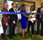 Ribbon cutting (left to right)— Hayla Moddelmog (president and CEO, Metro Atlanta Chamber), Lou Trebino (principal, KPMG), Ric Kimball (principal, KPMG Atlanta), Candace Byrd (chief of staff, Atlanta Mayor Kasim Reed), Rahsaan Shears (Advisory managing director, KPMG), Milford McGuirt (KPMG office managing partner, Atlanta)