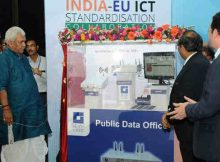 "Manoj Sinha launching the C-DOT's Public Data Office, at a Workshop on ""Future Proof Smart Cities with a Common Service Layer"", at the India-EU ICT Standardisation Collaboration, in New Delhi on April 21, 2017"