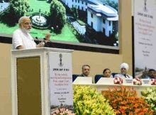 PM Narendra Modi addressing at the event marking introduction of digital filing as a step towards paperless Supreme Court, in New Delhi on May 10, 2017