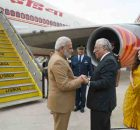 Narendra Modi being seen off by the Prime Minister of Portugal, Mr. Antonio Costa, on his departure from Lisbon for Washington DC, Portugal on June 24, 2017
