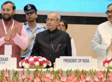 Pranab Mukherjee launching the SWAYAM, 32 SWAYAM Prabha DTH Channels and National Academic Depository, at the National Convention on Digital Initiatives, organised by the Ministry of Human Resource Development, in New Delhi on July 09, 2017