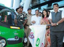 Nitin Gadkari flagging off the E-rickshaws for last mile connectivity, at Huda City Centre metro station, in Gurugram, Haryana on September 04, 2017