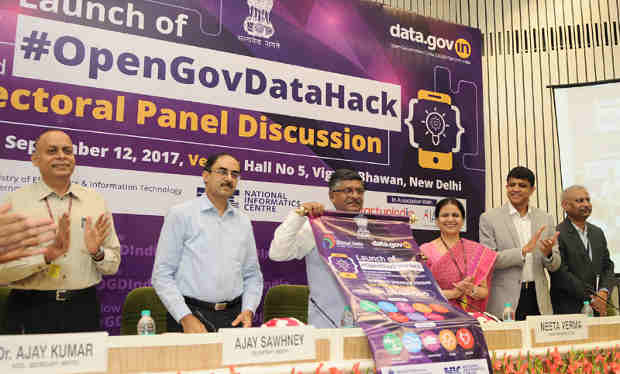 Ravi Shankar Prasad launching the Hackathon, at a function, in New Delhi on September 12, 2017