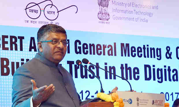 Ravi Shankar Prasad addressing at the inauguration of the open session of APCERT (Asia Pacific Computer Emergency Response Team), in New Delhi on November 15, 2017