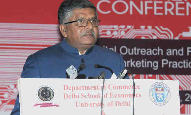 "Ravi Shankar Prasad addressing at the inauguration of the 6th Annual International Conference on ""Digital Outreach and Future of Marketing Practice"", organised by the Department of Commerce, Delhi School of Economics, University of Delhi, in Delhi on January 11, 2018"