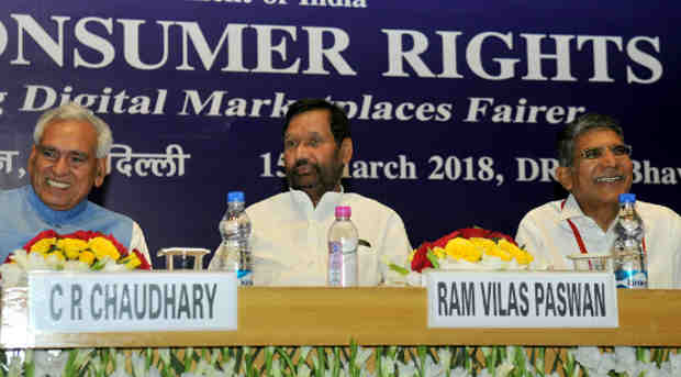 Ram Vilas Paswan at the inauguration of the Celebration of World Consumer Rights Day, in New Delhi on March 15, 2018