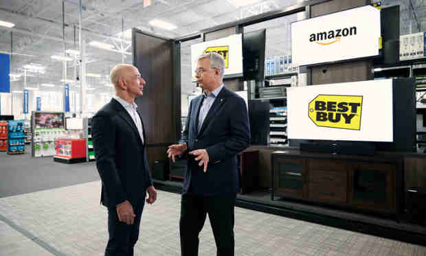 Amazon founder and CEO Jeff Bezos and Best Buy chairman and CEO Hubert Joly announce new Fire TV Edition smart TVs in Bellevue, WA.