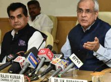 The Vice-Chairman, NITI Aayog, Rajiv Kumar addressing media after the 4th meeting of Governing Council of NITI Aayog, in New Delhi on June 17, 2018. The CEO, NITI Aayog, Amitabh Kant is also seen. (file photo). Courtesy: Press Information Bureau