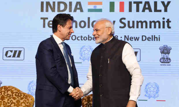 The Prime Minister, Shri Narendra Modi and the Prime Minister of Italy, Mr. Giuseppe Conte at the valedictory session of the India-Italy Technology Summit, in New Delhi on October 30, 2018.