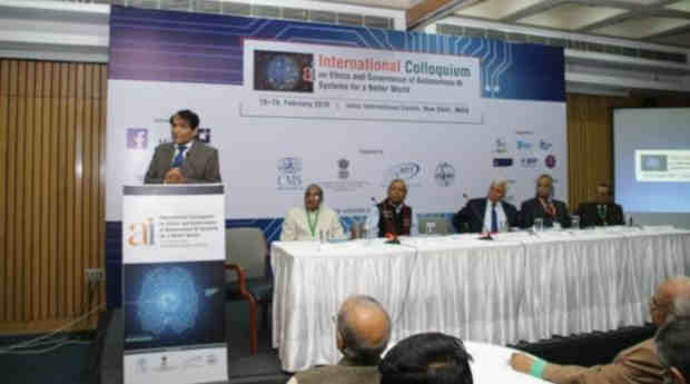 Suresh Prabhu speaking at the first open meet on AI in New Delhi on February 18, 2019. Photo: PIB