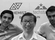 Embleema co-founders Nicolas Schmidt, Chief Product Officer, CEO Robert Chu and Alexis Normand, Head of Embleema Blockchain Consortium