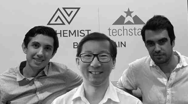 Embleema co-founders Nicolas Schmidt, Chief Product Officer, CEO Robert Chu and Alexis Normand, Head of Embleema Blockchain Consortium