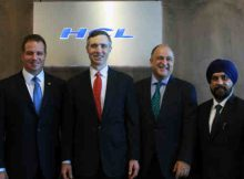 HCL Launches its Cyber Security Fusion Center. L-R: Arthur Filip, EVP and Head of Sales Transformation and Marketing, HCL Technologies; U.S. Representative Van Taylor District 3 (R-Plano); Maher Maso, Former Mayor of Frisco, Texas; and Maninder Singh, CVP, Cyber Security Services at HCL Technologies