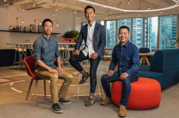 Klook's Co-Founders (from left to right): Eric Gnock Fah, COO & Co-Founder; Ethan Lin, CEO & Co-Founder; Bernie Xiong, CTO & Co-Founder