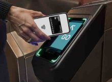 OMNY card reader at turnstile