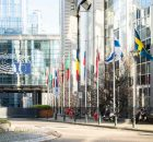 EU flags outside the European Parliament in Brussels. Photo: European Parliament