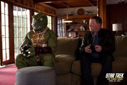 William Shatner and the Gorn reunite for the promotion of Star Trek: The Video Game (2013).