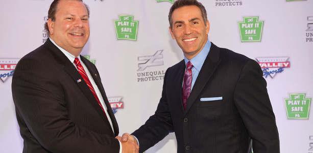 Unequal Technologies CEO Rob Vito with spokesman Kurt Warner