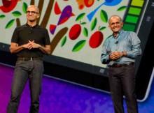 Adobe president and CEO Shantanu Narayen (right) and Microsoft CEO Satya Nadella at Adobe MAX