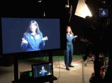 Astronaut Cady Coleman films her Space Apps promo!