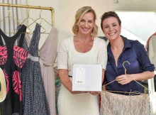Marcelle Parish, head of fashion for eBay Marketplaces, and fashion blogger Garance Dore celebrate the expansion of eBay Valet into apparel at The New York Edition