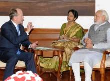 John Chambers calls on Narendra Modi, in New Delhi on March 18, 2016