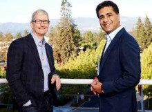 Apple CEO Tim Cook and Deloitte Global CEO Punit Renjen meet at Apple's campus to announce a joint effort to accelerate business transformation using iOS, iPhone & iPad. (Courtesy of Apple / Roy Zipstein)