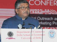 """Ravi Shankar Prasad addressing at the inauguration of the 6th Annual International Conference on """"Digital Outreach and Future of Marketing Practice"""", organised by the Department of Commerce, Delhi School of Economics, University of Delhi, in Delhi on January 11, 2018"""