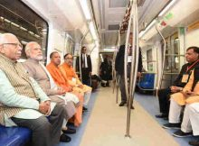 The Prime Minister, Shri Narendra Modi taking a ride in Metro from Botanical Garden Station to Okhla Bird Sanctuary along with the Governor of Uttar Pradesh, Shri Ram Naik and the Chief Minister, Uttar Pradesh, Yogi Adityanath and other dignitaries after its inauguration, at Noida, Uttar Pradesh on December 25, 2017. (file photo) Courtesy: PIB