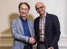 Kenichiro Yoshida, President and CEO, Sony Corporation (Left) and Satya Nadella, CEO, Microsoft
