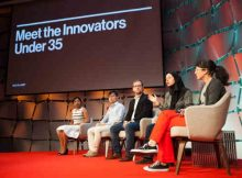 Honorees from MIT Technology Review's 2018 35 Innovators Under 35 onstage at EmTech MIT 2018.